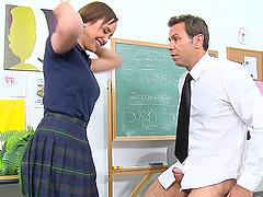 Busty Teen Rides Her Teacher's Big..