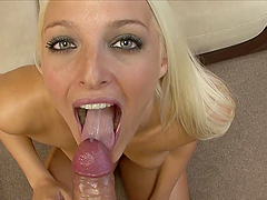Horny Blonde Teen Swallows A Load Of..
