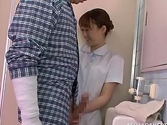 Horny nurse gives a nice blowjob in..