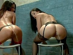 Two gorgeous brunettes are squirting..
