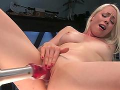 Kinky Blonde Fucks Machines On Camera