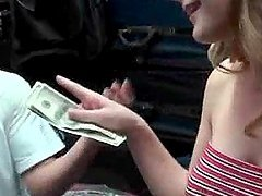 Beautiful blonde amateur taking cash..