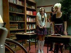 Two chicks in school uniform get..