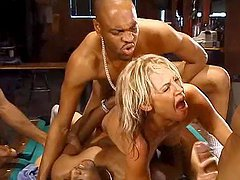 Slutty Ashley Moore gets gangbanged on..