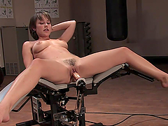 Hairy Babe Experiences Machine Fucking