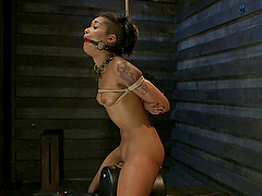 Horny Babe Rides Sybian While Tied Up