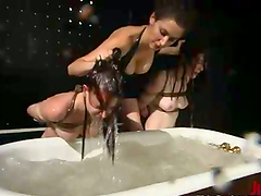 Two redhead chicks get tied up and..