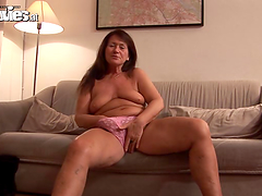 Chubby mature woman rides a cock and..