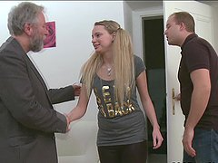 Sweet Jane threesome with old dude and..