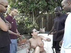 Interracial gangbang video with busty..
