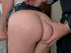 Two blondes on high heels get ass fucked in an office
