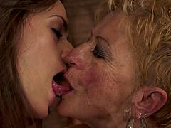 Short-Haired Granny Having Hot Lesbian..