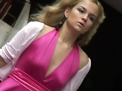 Arousing blonde gets filmed by voyeur