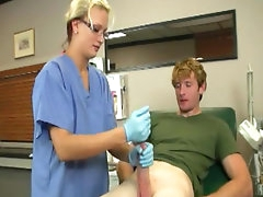 Nurse blonde in glasses gets cumshot