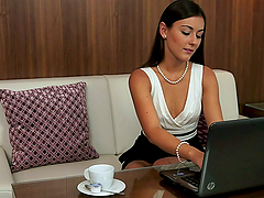 Tanned brunette Iwia strips and plays..