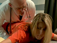 Imprisoned blonde gets tied up and..