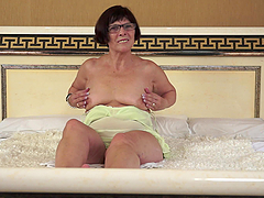 Horny Granny Wants Sex after Toying in..
