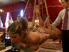 Hot Blonde's Tied Up And Imobilized..