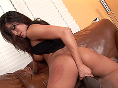 Busty Brunette Gives Deepthroat and Does the Cowgirl