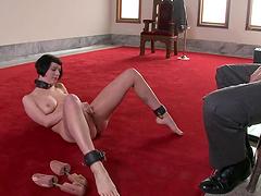 Horny Brunette Loves Playing Bondage..