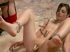 Two bonded brunettes get whipped and..