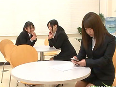 Kinky Japanese office chicks toy their..