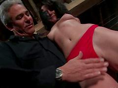 Brunette Gretchen Elvgren gets spanked..