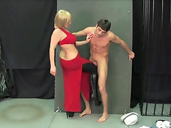 Ball busting with chubby blonde and..