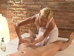 Blonde masseuse blows big dick and..