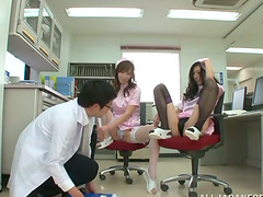 POV threesome with two petite Japanese nurses