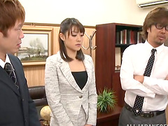 Maki Kouta gets stunningly fucked by a few dudes in an office