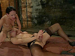Playful brunette gets rapped by a..