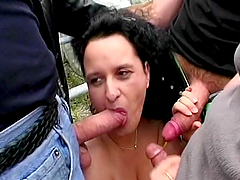 A Mouthful Of Semen For A Mature Brunette In An Outdoors Gangbang