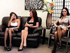 Four Horny Brunette Secretaries Have..