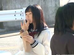 Asian girl in school uniform gets..