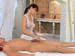 Stunning brown-haired masseuse gives..
