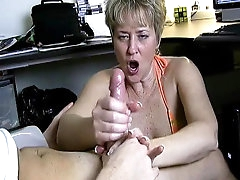 Mature blonde is masturbating that..