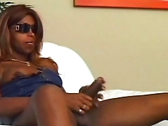 Ebony shemale being drilled in anal..
