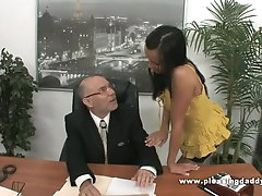 Young Slutty Secretary Fucks Old Boss