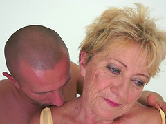Malya the slutty granny gets her bushy pussy fucked hard