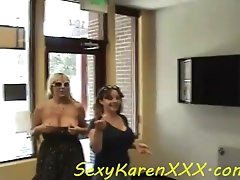 Big breasted milf babes flash tits in..