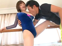 Petite Riko Honda gets pounded by her..