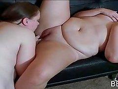 Chubby lesbian gets slick twat licked..