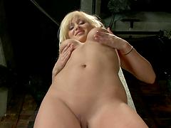 Kinky Blonde Shoves A Dildo Up Her Ass..