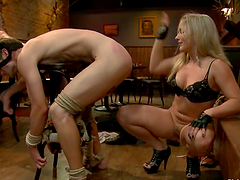 Blonde Dia Zerva Having Fun with Two Submissive Guys in Pegging Femdom Vid