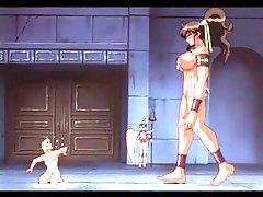 Hentai giantess pleasured by slave guy