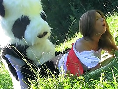 Young slut gets fucked by panda bear