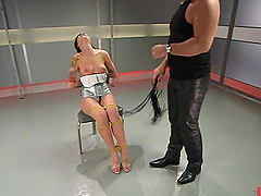 Tattooed brunette girl gets tied up..