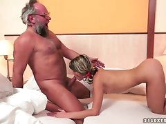 Teen slut lets grandpa lick her wet..