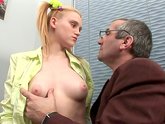 Cute Teen Blondie with Pigtails fucks..
